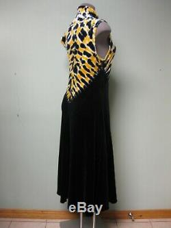 $1250 Proenza Schouler NEW Yellow Black White Tie Dye Turtleneck Jersey Dress S