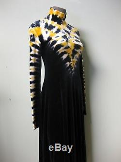 $1395 Proenza Schouler NEW Yellow Multi Tie Dye Turtleneck Velvet Jersey Dress S