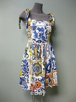 $1670 Dolce & Gabbana AUTH Majolica Lemon Tile Print Shoulder Ties Poplin Dress