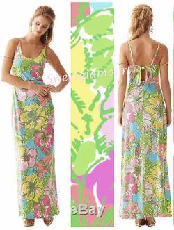 $178 Lilly Pulitzer Palm Big Flirt Floral Print Maxi Jersey Tie Back Dress