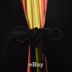 1940s Dressing Gown Velvet Color Block Robe Vintage VTG 40s Winter Colorful