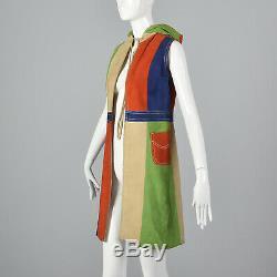 1960s Mod Color Black Suede Vest Hood Hooded Patchwork Leather Jacket Coat VTG