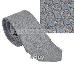 $200 New Auth Gucci Tie Blue & Grey Gg Logo Pattern Woven Silk 408872
