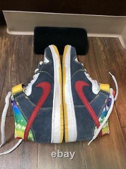 2008 Vtg Rare Nike Sb Supreme Us 11.5 314383-461 Dunk Mid Shoes Tie Dye Shoes