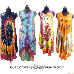20pc Deal Indian Dresses Multi Color Tie Dye Casual Sundress Beach Wear Dresses