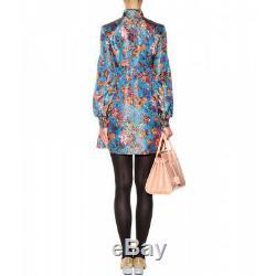 $2143 SAINT LAURENT Women's Vintage Tie Collar Brocade Mini Dress Size 38