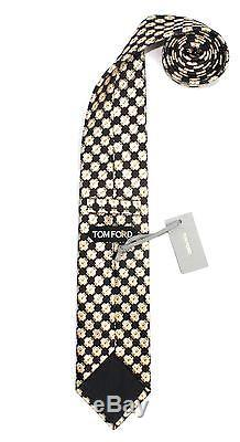 $260 NWT Tom Ford Brown Gold Orange Medallions 100% Silk Neck Tie Made in Italy