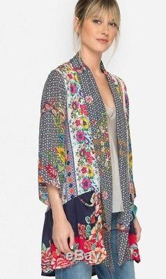 $268 Johnny Was Rosmishka Kimono Jacket Cardigan Rayon Silk Tie Front Sz 2x Nwt