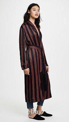$268 NWT FREE PEOPLE SzS ATRIUM EMBROIDERED STRIPED DUSTER JACKET NAVY COMBO
