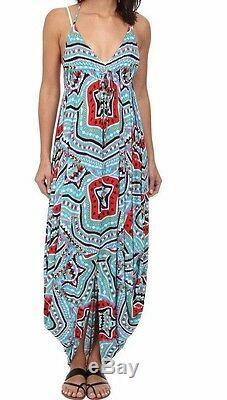 $280 Mara Hoffman Modal Estrada Turquoise jersey Halter Tie Maxi Dress L