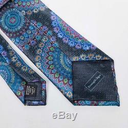 $285 Ermenegildo Zegna QUINDICI Blue Black Red Medallion Printed Silk Neck Tie