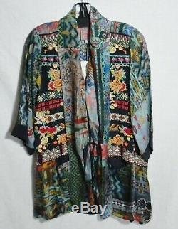 $288 Johnny Was Koben Embroidered Kimono Jacket Cardigan Rayon Silk Tie Front S