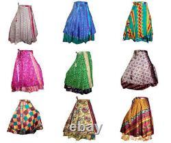30 PC Vintage Silk Sari Magic Wrap Around Frill Skirt Dress Wholesale Lot Indian