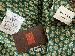 $3465 Etro Shimmering Metallic Paisley Silk Jacquard Kimono Tie Duster Coat 42