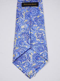 $375 Luxury Stefano Ricci Paisley Italian Gloss Smooth Silk Tie L 62.5 X W 3.5