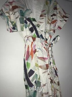 $425 Mara Hoffman Maui Palm Wrap Maxi Dress Size Medium Organic Linen
