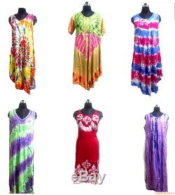 50 Pcs Wholesale Lot Indian Multi Tie Dye Sundress Beach Wear Casual Tunic Dress