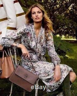 ca91efeb5f8  598.00 Tory Burch Vanessa Melody Floral Metallic Bow Tie Neck Silk Dress  Us 8