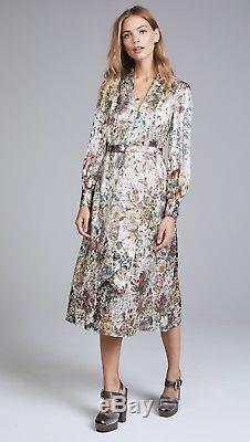 $598.00 Tory Burch Vanessa Melody Floral Metallic Bow Tie Neck Silk Dress US 8