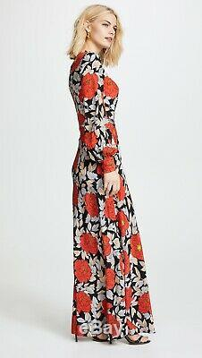 $598 Nwot Diane Von Furstenberg Boswell Cinch Waist Tie Silk Maxi Dress 4 6