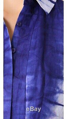 $695 Tory Burch Jasmyn Blue White Tie Dye A Line Runway Shirt Dress IT 40 / US 4