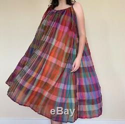 70s Vintage Dress Multicolor Tie Spaghetti Strap Mumu Gauze Cotton ZODIAC