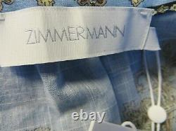 $750 Zimmermann NEW AUTH Fiesta Long Wrap Dress 1 US6 Puff Sleeves Aqua Paisley
