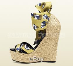 $770 Gucci Shoes Carolina Beach Ball Satin Tie Wedge Espadrille Sandal 39 9