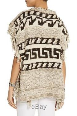 $820 Isabel Marant Etoile Intarsia Fringe Tie Wool Poncho S Texas Made in Italy