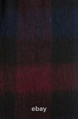 $995 Vince Women's Coat Large L Brushed Plaid Wool Blend Belted Long Jacket
