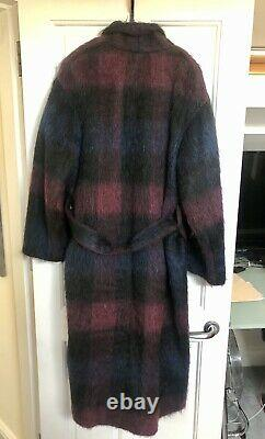$995 Vince Women's Coat Small M/L Brushed Plaid Wool Blend Belted Long Jacket