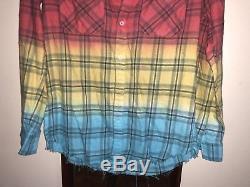 AMIRI Cotton Faded Plaid Tie-dye Shirt Size M /Mx1 Slp Saint Laurent Patchwork