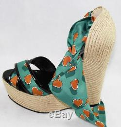 AUTH $770 Gucci Heartbeat Satin Tie Wedge Espadrillle Sandal 38