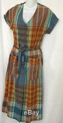 Ace jig dress Short Sleeve Multicolored Plaid Button Down Tie Waist Size Xs