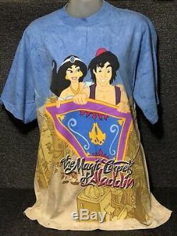 Aladdin T-shirt Genie All Over Tie Dye Disney Print Vtg Shirt Disney World + Vhs
