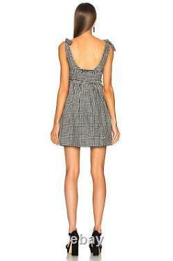 Alexa Chung black white gingham checked tie shoulder ballerina dress UK 6 / US 2