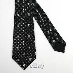 Alexander McQueen Black/White Skull Polka Dot Silk Tie 165724 1077