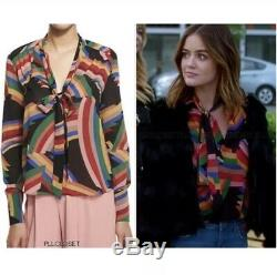 Alice + Olivia Aisha Rainbow Tie Neck Blouse M Pretty Little Liars Lucy Hale