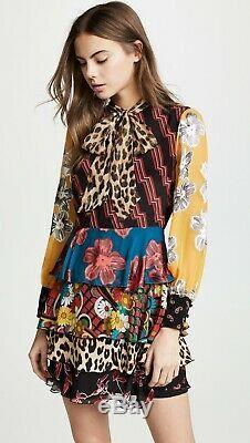 Alice + Olivia Dasha Tiered Ruffle Tie Neck Dress Size 0 $595