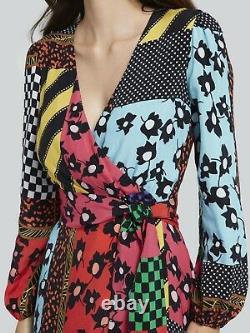 Alice + Olivia Women's Coco Graphic Patchwork Mock Wrap Maxi Dress Size 2