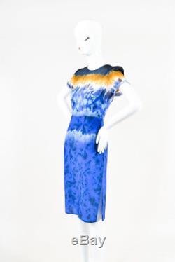 Altuzarra NWT Ceramic Blue Silk Tie Dye Print SS Glaze Dress SZ 36