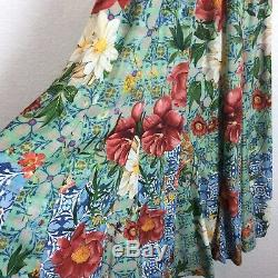 Anthropologie Farm Rio Hibiscus Floral Criss Cross Tie Back Vacation Maxi Dress