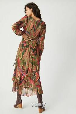 Anthropologie Farm Rio Plumas Maxi Wrap Dress Tropical Chiffon Leaf NWT XL