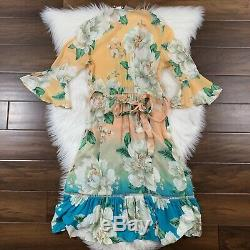 Anthropologie Farm Rio Sunset Women's Size XXS Floral Wrap Dress Ruffle Sleeves
