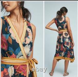 Anthropologie MAEVE Botanica Wrap Dress Size 8 NWOT Beautiful! W Pockets