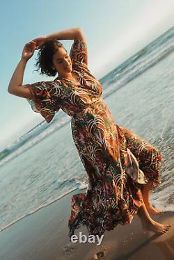 Anthropologie New Farm Rio Fiesta Multicolor Wrap Maxi Dress Size L NWT