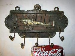 Antique Ww I USA Judd Cast Iron War Gun Airplane Hook Wall Key Tie Rack Holder