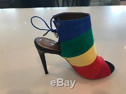 Aquazzura Rainbow Suede Stiletto Peep Toe Sandals with Tie Closure NEW Sz 38
