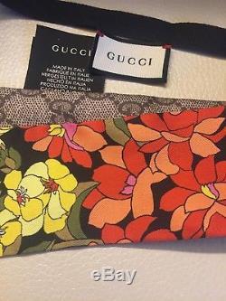 Auth Gucci Floral Rainbow Gg Logo Skinny Silk Twill Neck Scarf Tie A/W 18/19