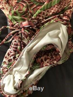 Auth NWOT JEAN Paul GAULTIER Tattoo Floral Print Wrap Tie Swimsuit One Piece